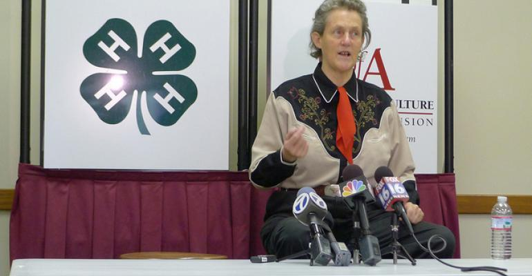 Temple Grandin fields questions from the media on Sunday Aug 12 2012 at the CA Vines Arkansas 4H Center where she visited with 4H and FFA members University of Arkansas System Division of Agriculture photo by Mary Hightower