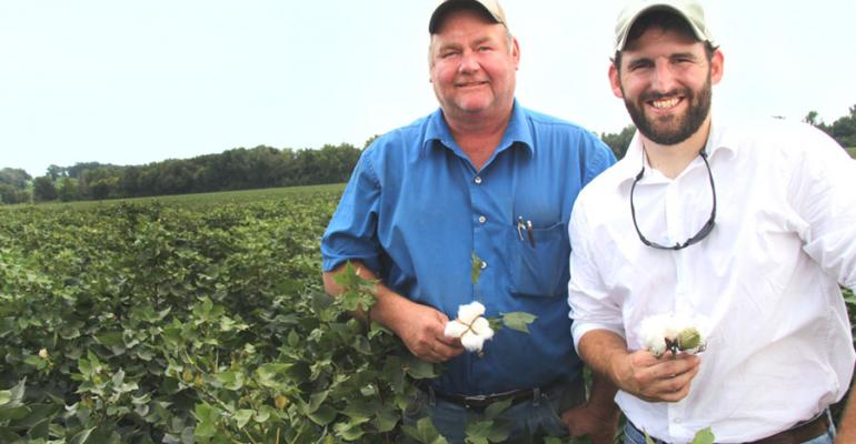 WALT MOORE left and Josh James who farm in Tallahatchie County Miss were waiting for the remnants of Hurricane Isaac to clear out before they began defoliating cotton