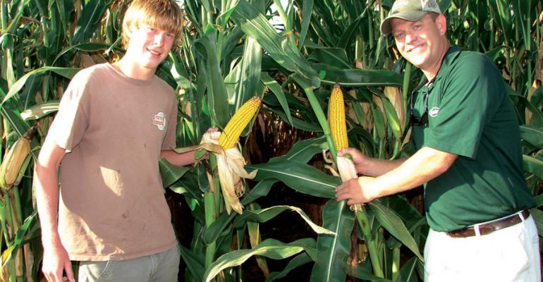 TYLER PARKER left and Tripp Giles Helena Chemical Company show some of the ears from a field that produced an early corn crop for Parker and his grandfather Bill Woods