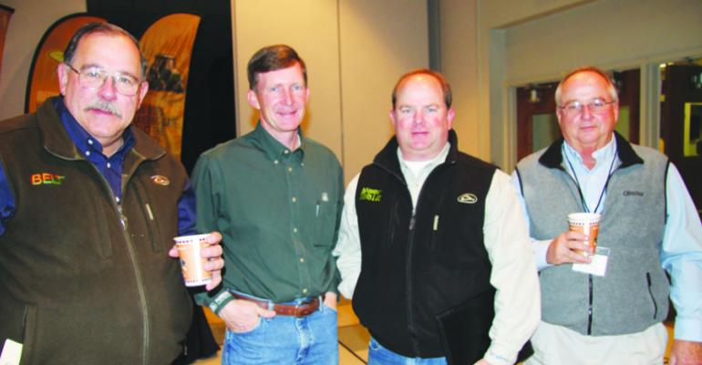 NED DARBONNE from left Bayer CropScience Madison Miss Calvin Bowlin Pioneer DuPoint Carrollton Miss Trent LaMastus LaMastus Ag Service Cleveland Miss and Jonny Spivey Dow AgroSciences Indianola Miss were among those attending the annual meeting of the Mississippi Agricultural Consultants Association