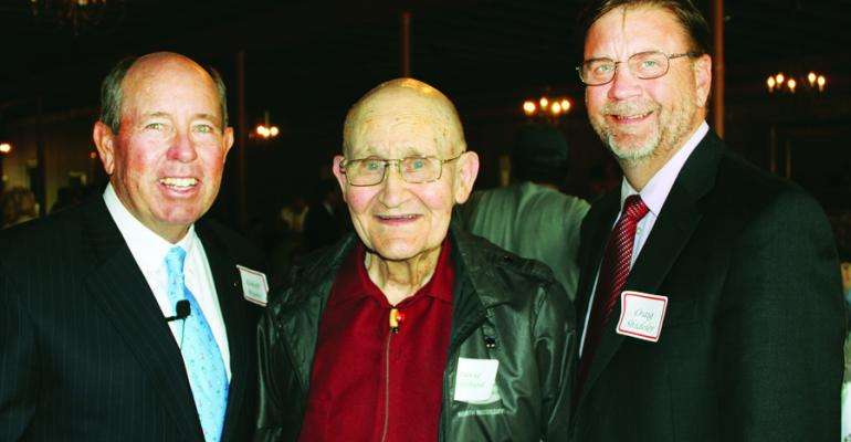 ABBOTT MYERS left Mississippi Land Bank chairman and Dundee Miss producer and Craig Shideler right the organizations executive vice president welcomed 91year old David Harold Prichard Booneville Miss Prichard served on the organizations board for many years and was recently honored by the national Future Farmers of America organization as the organizations oldest living national officer and for his contributions to the FFA Foundation He served as national FFA president in 1940