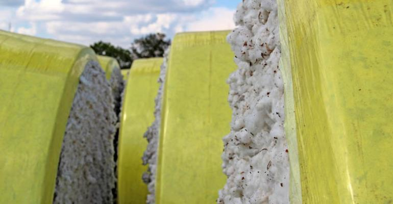 PLASTIC MODULE COVERS are among a long list of potential contaminants that often make it through the ginning process and into bales shipped to increasingly critical foreign users