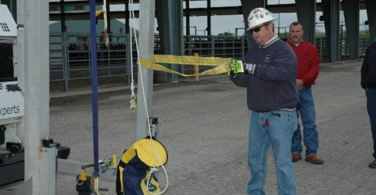SCOTT FUCHS DBISala Fall Protection demonstrates proper use of fall prevention equipment to participants at the Coastal Bend Grain Storage and Handlers Safety Conference in Sinton Texas