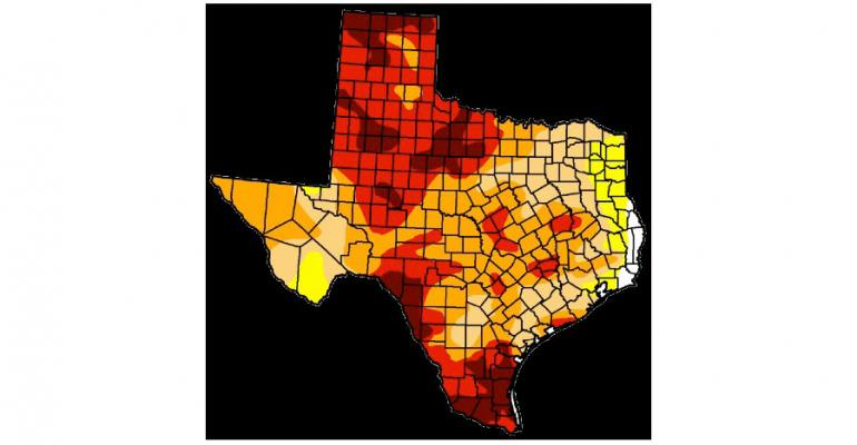 US DROUGHT MONITOR Map shows seriousness of Texas drought