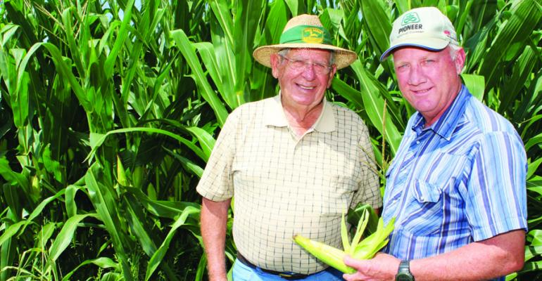 PAUL GOOD left and Dale Weaver dropped cotton in 2007 in favor of all corn and soybeans on their Noxubee County Miss farms