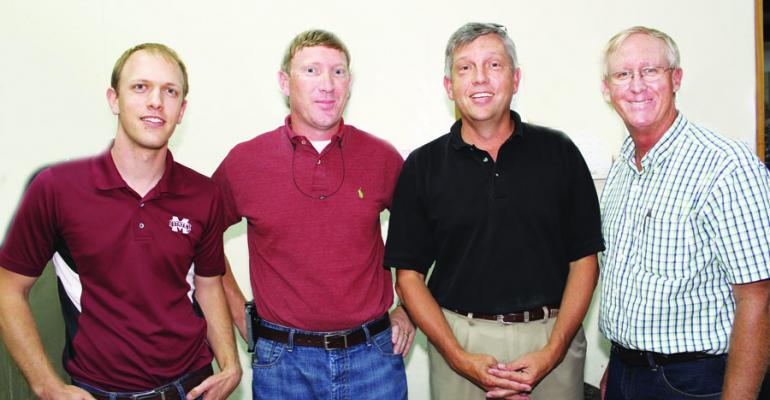 STEVE MEYERS from left Mississippi State University regional Extension specialist Pontotoc Miss Wes Lowe MSU ag and bioengineering research associate Dewitt Moore Farm Bureau Houston Miss and Benny Graves Mississippi Sweet Potato Council were among those attending the Mississippi Farm Bureau Federationrsquos summer sweet potato commodity meeting at Thorn Miss