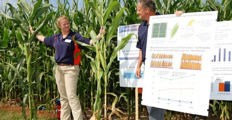 University of Illinois graduate student Jessica Bubert left and Stephen Moose professor of maize functional genomics right are making NitroGenes translatable to the industry so corn growers can take advantage of improved Nuse efficiency as a trait