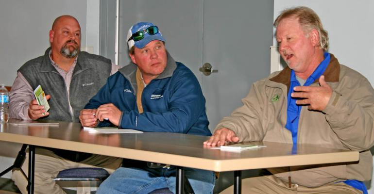 THE THREE SOYBEAN producers from left Matt Miles Nelson Crow and Eddie Tackett first to break 100bushelsperacre in Arkansas answered questions about their crops at the recent TriState Soybean Forum