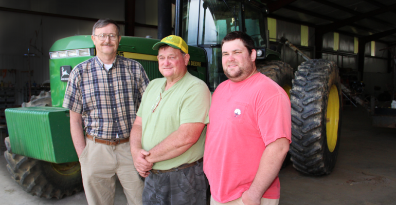 DAVID COLLINS from left his brother Colin and Colinrsquos son Clay grow soybeans and sometimes corn in Union County Miss