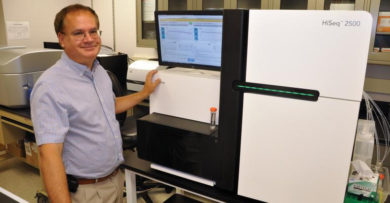 BRIAN SCHEFFLER head of the ARS Genomics and Bioinformatics Research Unit in Stoneville Miss used this HiSeq 2500 sequencing system as part of an internationl effort to sequence the peanut genome
