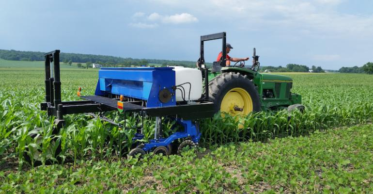 This Penn State cover crop interseeder plants three rows of cover crop between each corn row