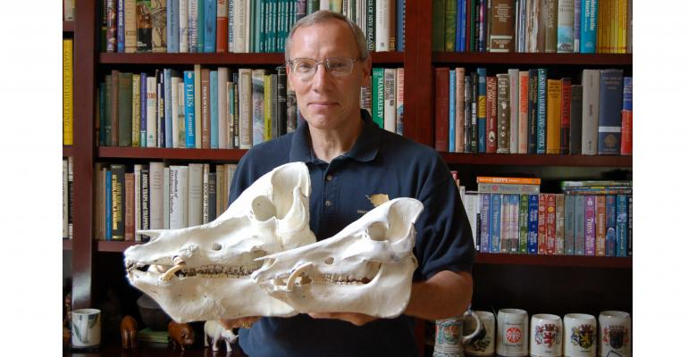 JOHN ldquoJACKrdquo MAYER holding two wild pig skulls The largest is quotMonster Pigquot shot by young Jamison Stone in Alabama several years ago