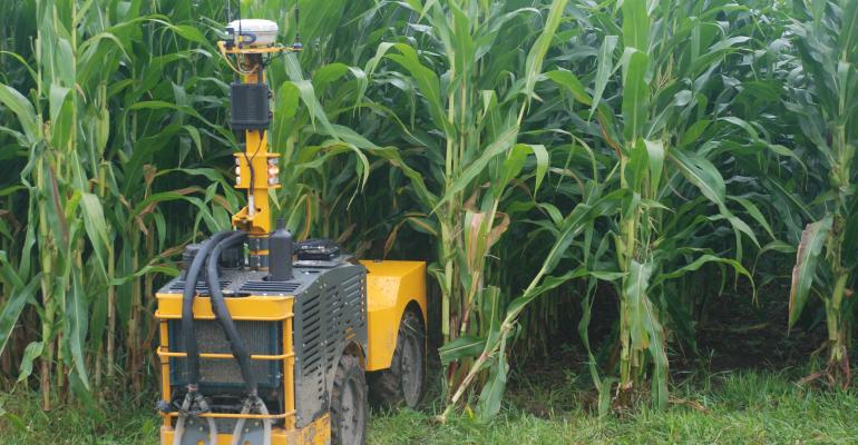 The autonomous Rowbot uses sophisticated sensors to navigate It can apply inseason nitrogen and perform other field tasks such as seeding cover crops into tall corn The new technology is being developed by Rowbot Systems a Minneapolis startup company