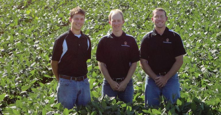 These Madison Wis grad students focus daily on growing top soybean yields Adam Gaspar left Ethan Smidt and David Marburger right support state Soybean Extension Specialist Shawn Conleyrsquos research on the latest soybean developments