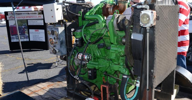 Converted to run a blend of propane and diesel this engine is a fuel hybrid that can save an operator as much as 6 per hour in fuel costs