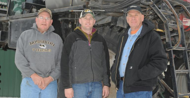 Missouri farmers Eric left Carl center and Mack Woodard plan their herbicide program to deliver multiple effective sites of action against glyphosateresistant waterhemp They also limited PPO applications to one per season lowering selection pressure on Group 14 herbicides
