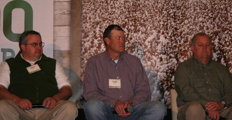 GREG SIKES left Brooklet Ga Chad Brown Lubbock Texas and Rodge Rodgers of Clarksdale Miss talk about growing Deltapine39s new dicambatolerant cotton under regulated trials in 2014