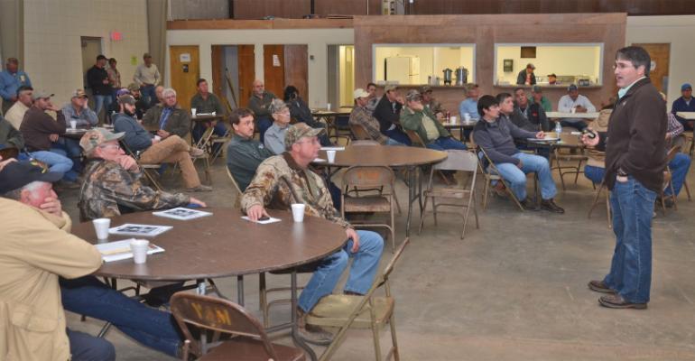 LSU AGCENTER WEED scientist Daniel Stephenson far right tells farmers at the St Landry Parish wheat and feed grain production meeting on Jan 22 about how to manage herbicideresistant weeds