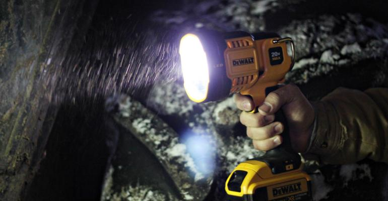 If you want to light up a big area the new DeWalt 20v MAX Jobsite LED Spotlight is a bright choice