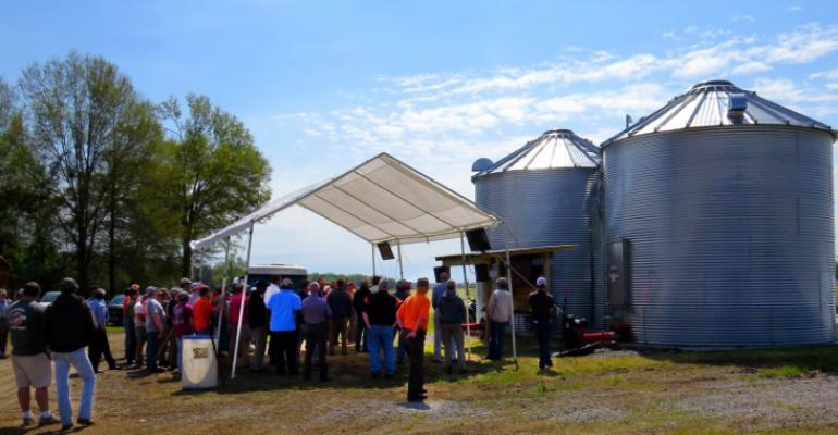 A crowd gathers at Clemsonrsquos Edisto Research and Education Center to learn about automated grain bins