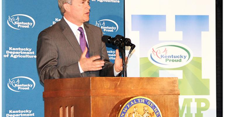 Kentucky Agriculture Commissioner James Comer announces that the Kentucky Department of Agriculture approved 121 applications for hemp pilot projects in 2015 Kentucky Department of Agriculture photo