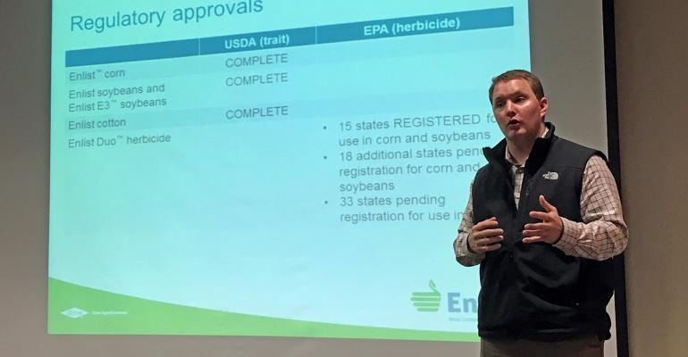 Dow AgroSciences Enlist field specialist Ryan Keller discusses the current regulatory approvals for traited crops Enlist corn soybeans cotton and Enlist Duo herbicide