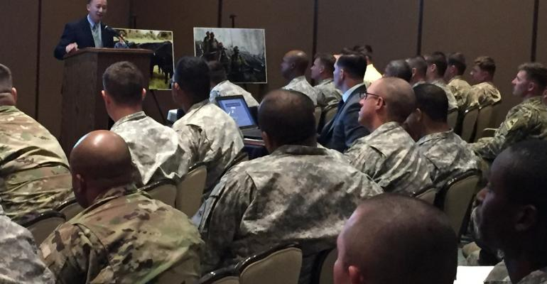 Lanon Baccam USDA Undersecretary discusses opportunities available in farming and ranching to members of the military at Fort Bliss For the first time this year USDA is participating in the Hire Our heroes program