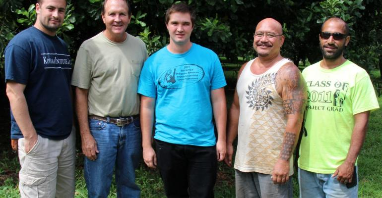 The macadamia team at Island Harvest Inc at Kapaau Hawaii includes from left Chris Jim and Nathan Trump plus Hansen Kapeliela and Gilbert Bigtas 2016 marks the 25th year for the Trump family in the macadamia business on the Big Island coast