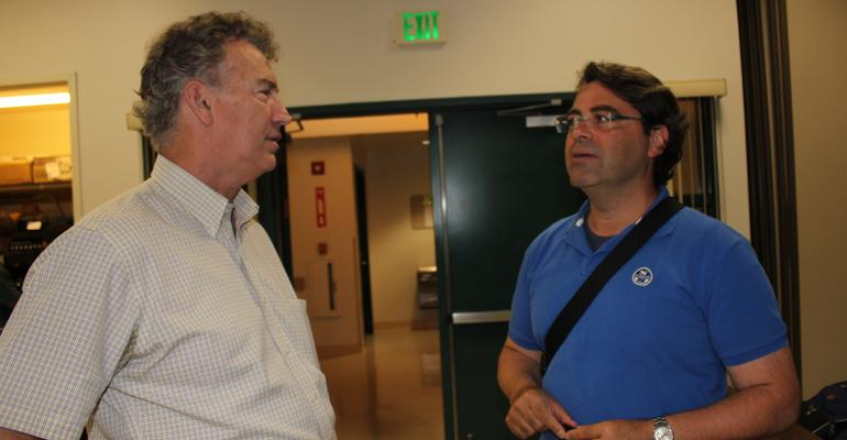 UCCE speakers Dan Munk left irrigation specialist in Fresno County and Daniele Zaccaria agricultural water management specialist at a surface irrigation workshop at the Kearney Ag Center in Parlier Calif