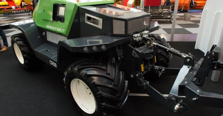 This commercial robot tractor  with an 100 hp engine  is at work in some fields in Europe