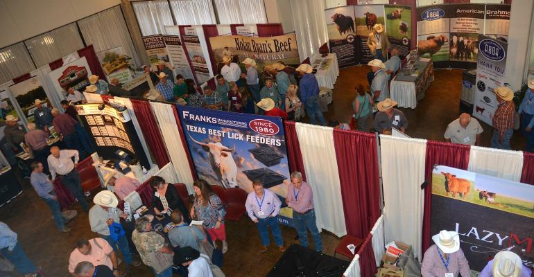 The trade show at the Texas AampM Beef Cattle Short Course features networking among industry vendors and cattle producers