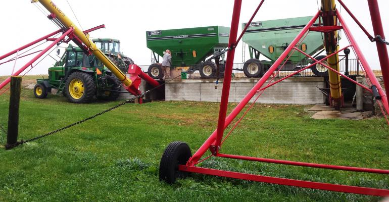 The grain handling system is built for efficiency speed but not for prybars in the auger