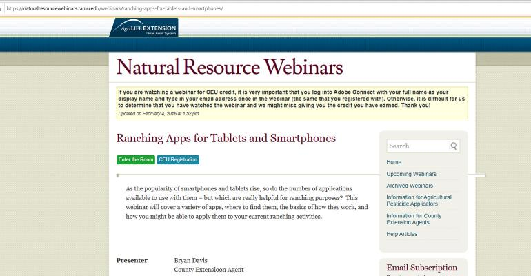 https://naturalresourcewebinars.tamu.edu/webinars/ranching-apps-for-tablets-and-smartphones/