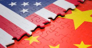 China and U.S. flags embedded in a puzzle