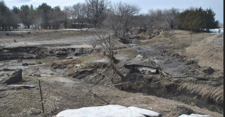 Floodwaters damaged and scoured numerous small creeks and streams across northeast and eastern Nebraska, including this branch of West Bow Creek