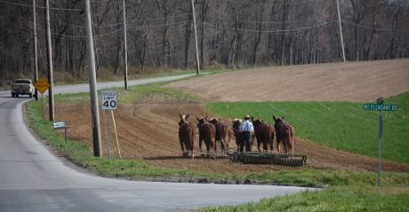 A farmer just south of Strasburg, Pa., works the ground with a team of horses