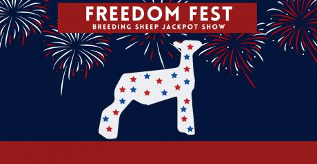 Illustration of the Freedom Fest breeding sheep jackpot show logo of a sheep with red, white, and blue stars and fireworks