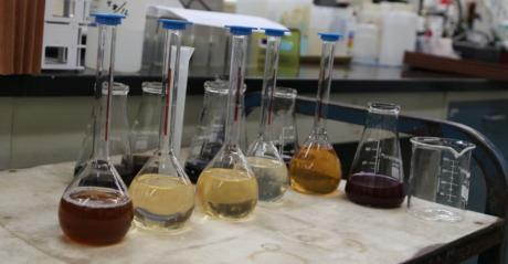 Beakers in lab filled with samples