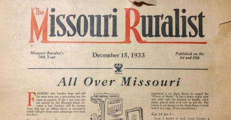 An old publication from 1933 with the Missouri Ruralist masthead