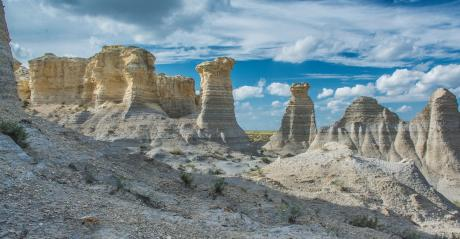 Rock formations  visitors will be able to view from overlooks on two trails in Little Jerusalem Badlands State Park