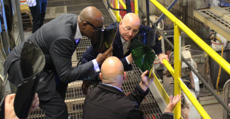 Nebraska Governor Pete Ricketts saw demonstrations on robotic welding stations and world-class galvanizing while toruing Reinke's facilities