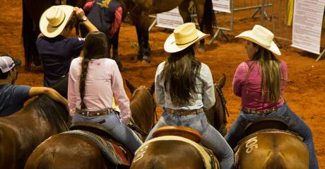 girls on horses at a rodeo
