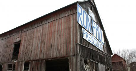 Ron Paul for President sign on side of barn