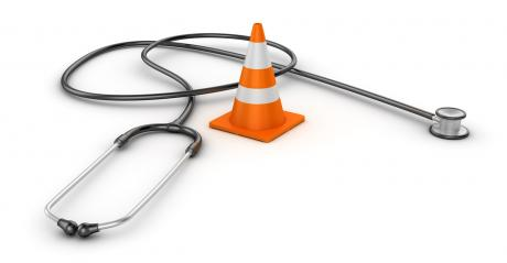 stethoscope and traffic cone rendering