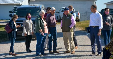 Sec. of Agriculture Sonny Perdue was welcomed by Daniel and Lori Baumgardner, Barrens View Farm in Dillsburg, Pa.