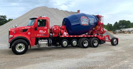 The Shelly Company rolling billboard cement truck with Farm Bureau branding featured on it