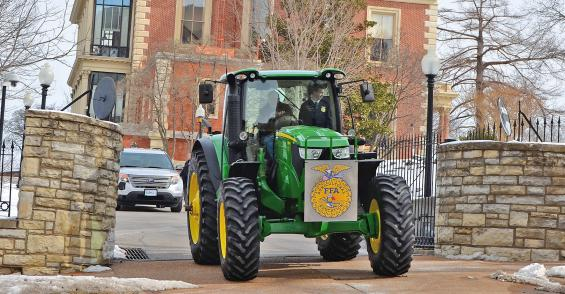 Missouri governor celebrates FFA Week with tractor ride