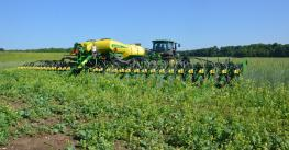planter in field of cover crop
