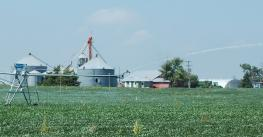 famr in Nebraska with irrigation equipment in foreground