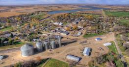 Small Town Willow Lake in Rural South Dakota captured by drone camera